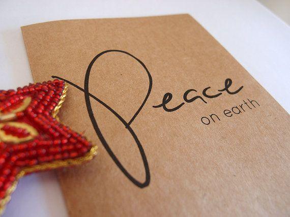 Peace On Earth  Christmas Card  Seasons by LittleWhiteMouse, $3.10 #peace #christmas #earth #card #design
