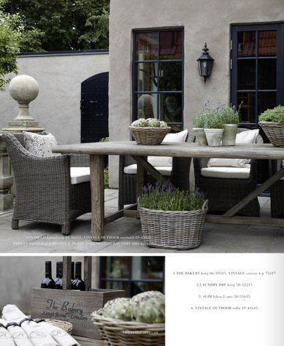 rustic table and grey rattan dining - al fresco Quite like the black windows and grey walls