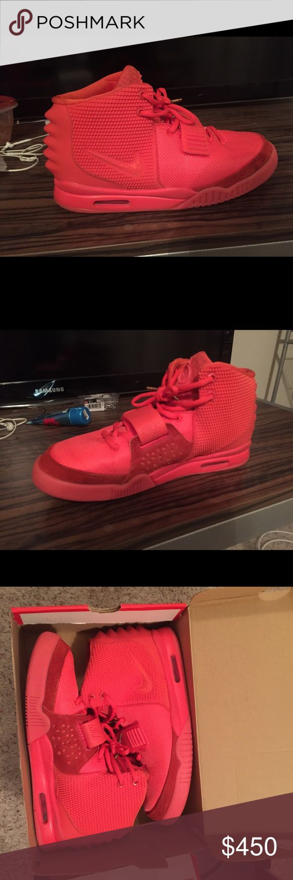 Red October Yeezys All red. No gold tips for laces. Worn only a couple of times. Yeezy Shoes Sneakers