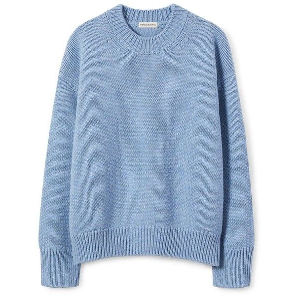 Wool Oversized Crewneck ❤ liked on Polyvore featuring tops, sweaters, blue crewneck sweater, woolen sweater, wool crew neck sweaters, drop shoulder sweater and crewneck sweaters