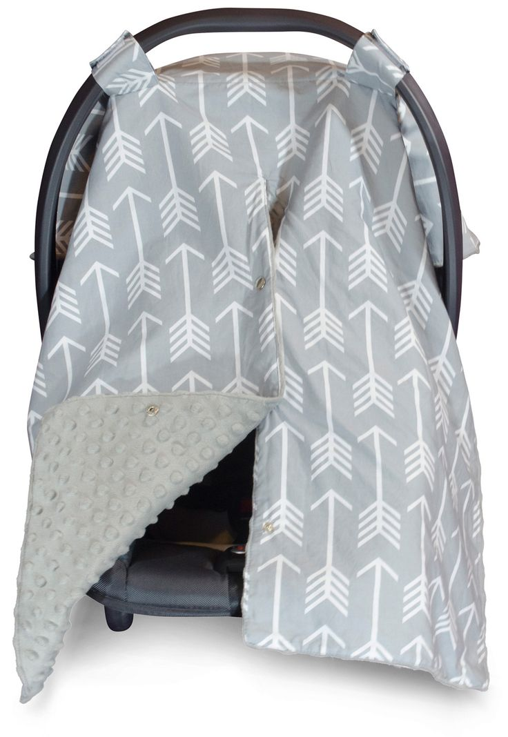 Large Carseat Cover with Peekaboo Opening™ - Arrow Canopy with Grey Dot Minky