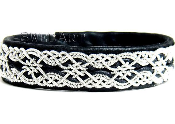 SwedArt B17 Snowflake Sami Lapland Reindeer Leather Bracelet Pewter and Silver Braids Antler Button Black 1/2 Inch Wide XXS