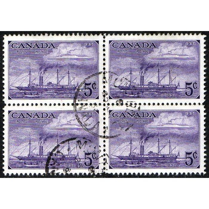 1951 CANADA 5 CENTS POSTAL CENTENARY BLOCK OF 4 SHIP STAMPS, SCOTT #312 SCV$4.40