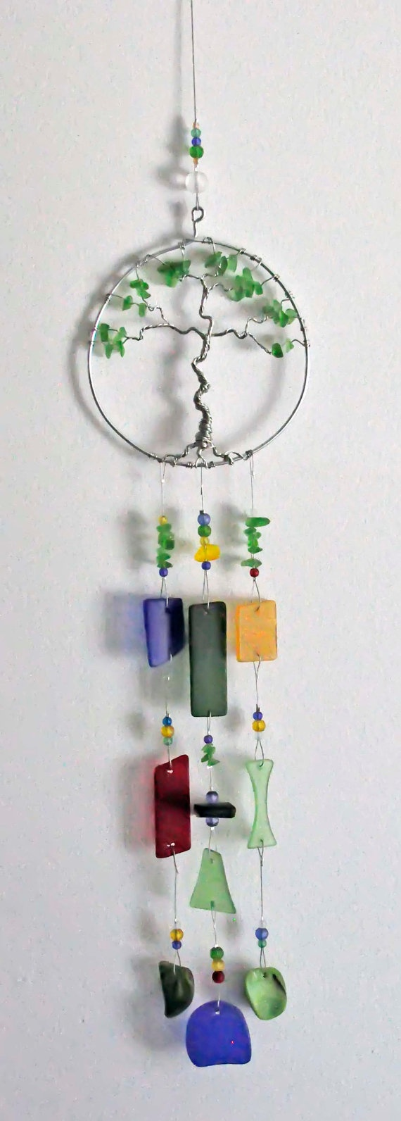 Recycled sea beach glass windchime