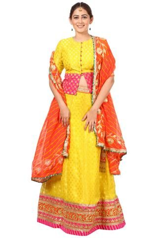 4448c9e43569ca Sunshine Yellow Lehenga Choli with Peachy Orange Leheriya Dupatta in ...