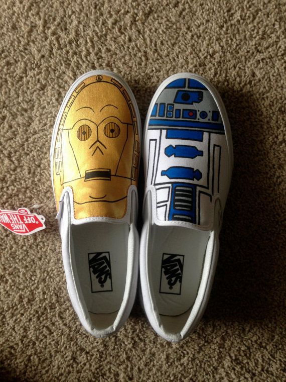 Star Wars R2D2 and C2PO Droid Hand Painted Vans by ShoesBySmiley, $135.00