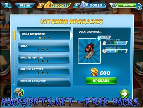 Cooking Fever Hack Cheats Gems Coins iOS Android