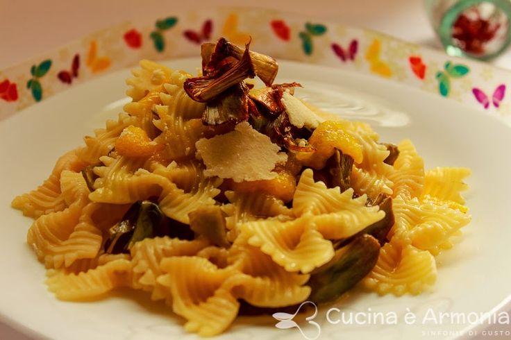 #Farfalle ai #carciofi, #Castelmagno e #zafferano di #Cascia... con #chips di #carciofi http://www.cucinaearmonia.com/2014/12/farfalle-ai-corciofi-castelmagno-e.html #food #foodblogger #cucinaearmonia