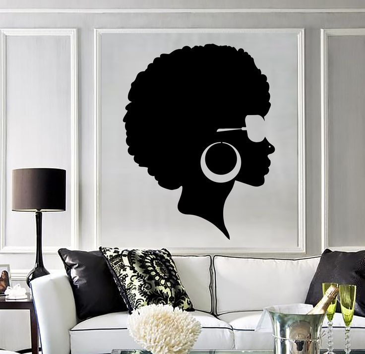 Vinyl Wall Decal Afro Hairstyle Black Lady Beauty Salon Stickers Mural (ig3803)