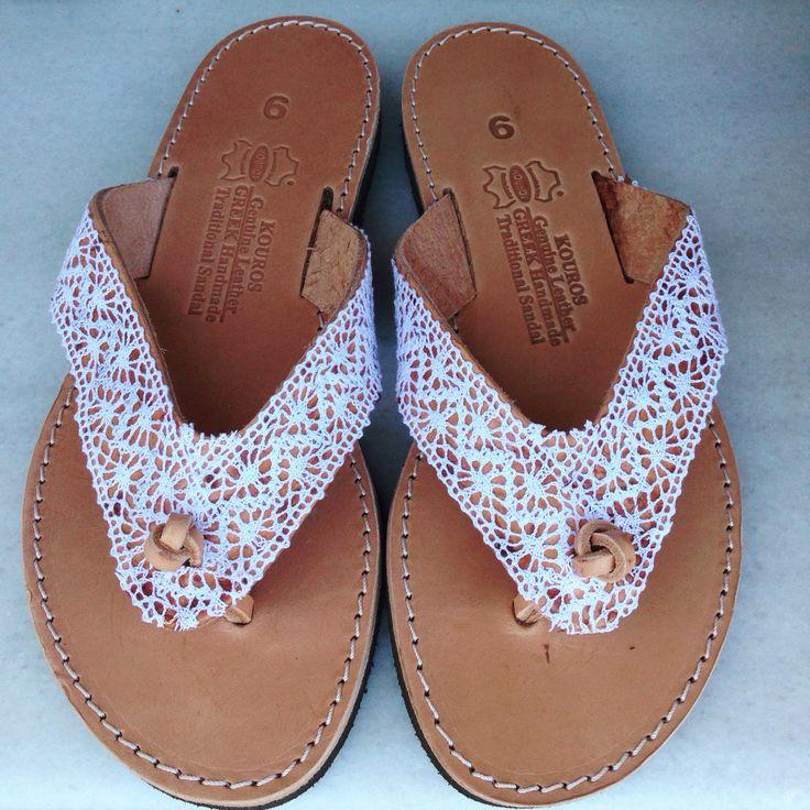 White bohemian flip flops