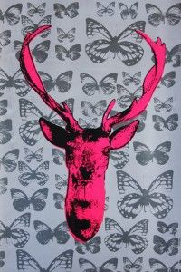 Deer Hunter print Pink & silver butterflies.70 x 50cm. £80.00 http://traffordparsons.com/products-page/