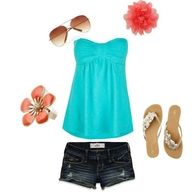 Strapless turquoise top, with dark blue jeans and sandals... cutee! Add on some sunglasses and a red/pink flower in your hair for a even cuter look!