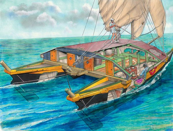 Famed marine illustrator Robbert Das looks at some of modern yachting's earliest experiments in the area of multihulls.