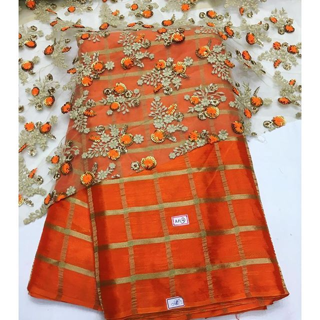 """Beautiful Orange chiffon #Saree. """"To purchase this product mail us at houseof2@live.com or whatsapp us on +919833411702 for further detail """""""