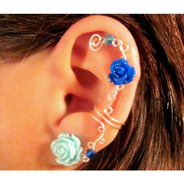 "Non Pierced Ear Cuff ""Roses are Dainty"" Cartilage Conch Cuff Silver... ($12) ❤ liked on Polyvore featuring jewelry, earrings, accessories, piercings, brincos, lucite earrings, ear cuff, stud earrings, clip earrings and rose stud earrings"