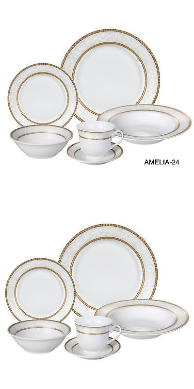 Dinner Service Sets 36032: Lorren Home Trends Amelia 24 Piece Porcelain Dinnerware Set, Service For 4 -> BUY IT NOW ONLY: $68.99 on eBay!