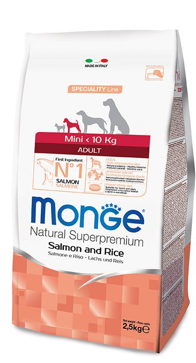 MINI ADULT SALMON AND RICE Kibbles Monge Natural Superpremium Speciality Line with Salmon and Rice are a complete food for adult dogs of small sizes.