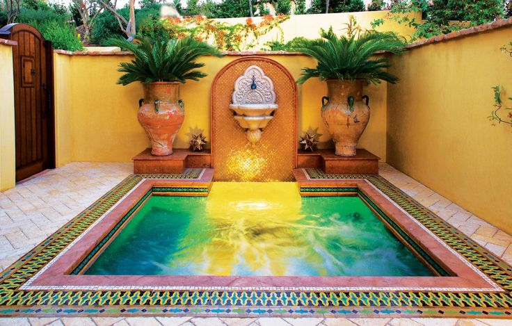 Moorish style spa courtyard with privacy wall luxe for Courtyard designs with spa