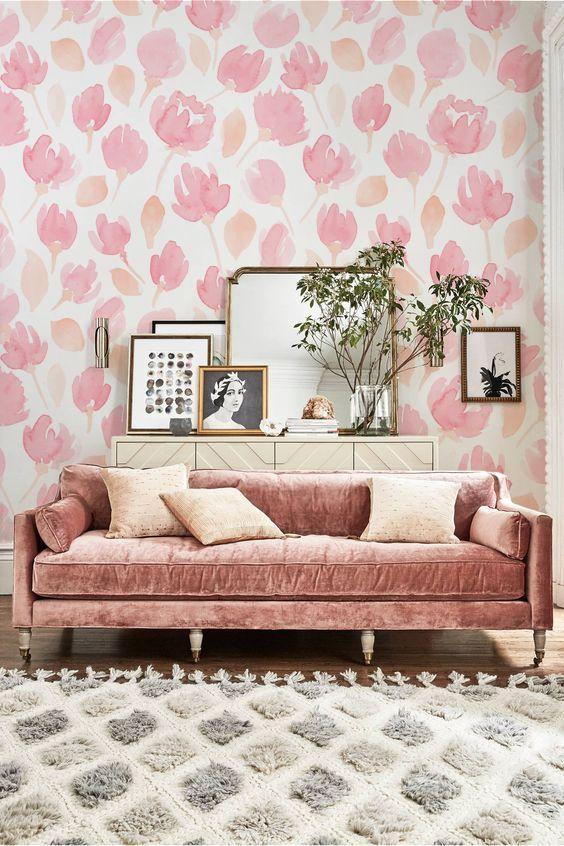 Pink Living Room Girl Bedroom Decor Pink Velvet Sofa Pink Couch