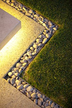 Pebbles and exposed aggregate concrete (less maintenance than pebbles) Architectural Landscape Design
