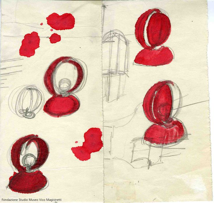 Original sketch of Eclisse RED by Vico Magistretti (1967) http://www.artemide.us/?page=main/flypage&pageTitle=Eclisse%20photo%202&product_id=1034&layout=features