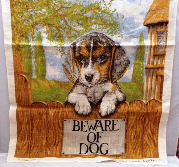 New Vintage Irish Linen Tea Towel Beagle Puppy Kitchen Towel