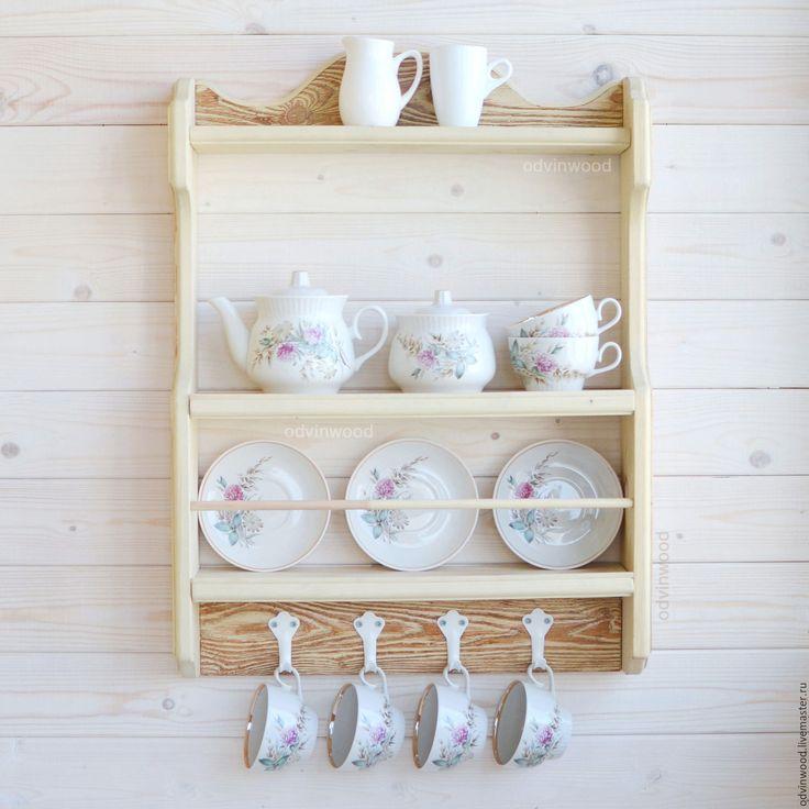 """Купить Полка """"Буржуа"""", деревянная полка, полка для кухни посуды из дерева - полка для тарелок чашек"""