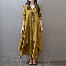 2016 Vintage Women Autumn V Neck Long Sleeve Cotton Linen A-Line Casual Loose Maxi Dress M L XL Yellow White Brick-Red 3Colors(China (Mainland))