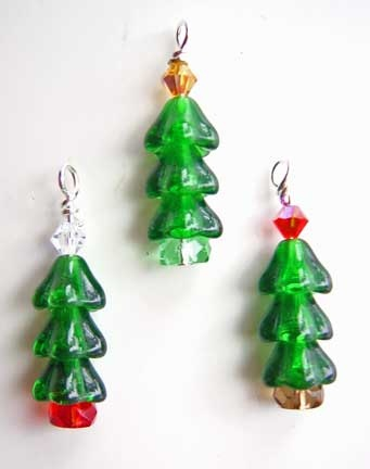 Christmas Tree charms made from Czech flower beads topped with a 4mm bicone czech crystal