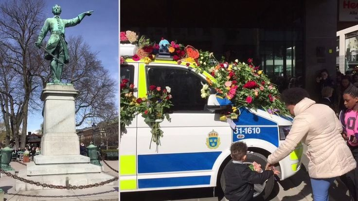 A flower-covered police car at the site where a truck drove into a department store in Stockholm, Sweden, on April 10, 2017. #Stockholm #Sweden #Terrorism