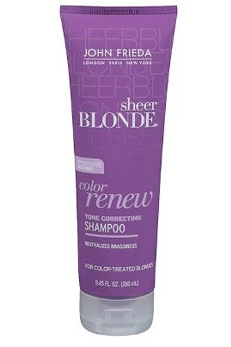 """""""Even though I'm Norwegian, I have to rely on regular highlights and tons of products to keep my tresses from going brassy. While purple shampoos aren't anything new and noteworthy, I love that John Frieda's version gets pretty much the same result for a fraction of the price of the fancier versions.""""John Frieda Sheer Blonde Color Renew Tone Correcting Shampoo, $5.99, available at Target. #refinery29 http://www.refinery29.com/annies-product-picks#slide-11"""