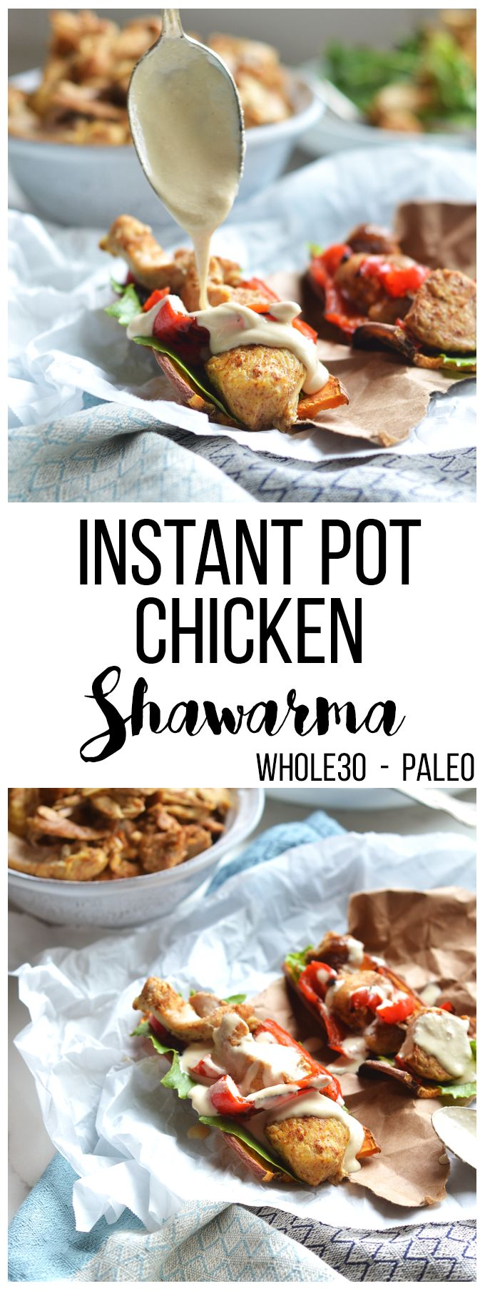 This instant pot chicken shawarma is packed with flavor, whole30, paleo and can be made in a slow cooker!