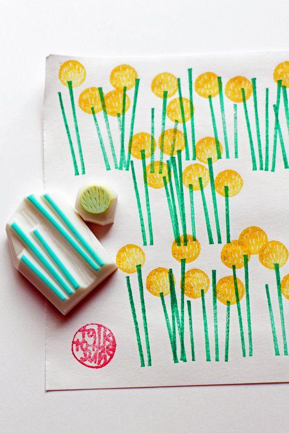 Yellow billy ball flower stamps   woodland + botanical hand carved stamps   diy + scrapbookingAnn-Charlotte Geissler