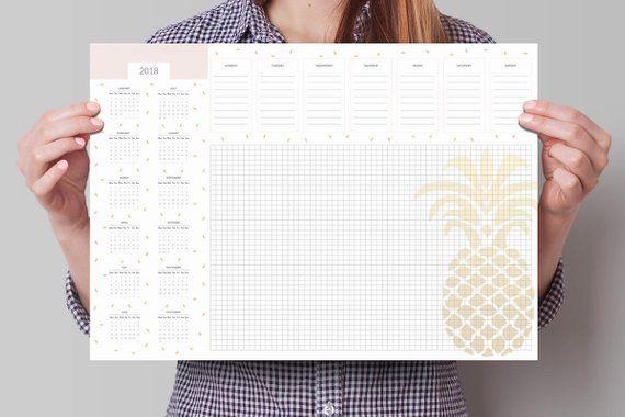 Desk Planner With Calendar Deskpad Calendar Weekly Calendar 2018 Office Desk Pad Weekly Planning Desk Desk Calendar Pad Desk Planners Weekly Desk Planner