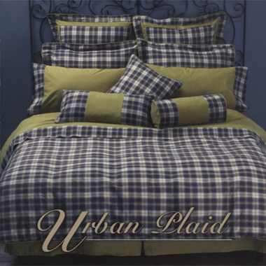 """Urban Plaid"" Bedding    Face: 100% cotton yarn dyed plaid pattern .    Reverse: 100% cotton solid color. Sheets: 100% cotton solid color, flat & pillow case with plaid cuff & piping.    Sheet Set: One fitted sheet, 1 flat sheet & 1 pair of pillow cases. (Twin size with one pillow case)"