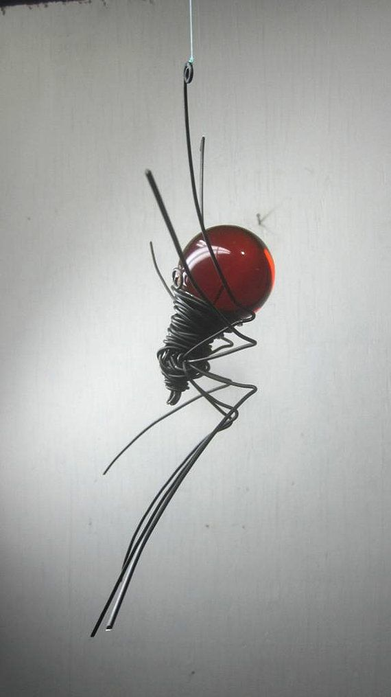 Blood Red Sun Catcher Window Spider Hanging Art  by thedustyraven, $25.00