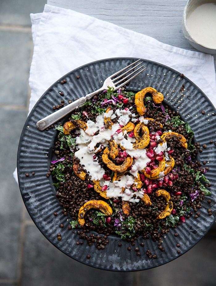 squash salad with lentils + pomegranates with a roasted garlic cashew cream | what's cooking good looking: