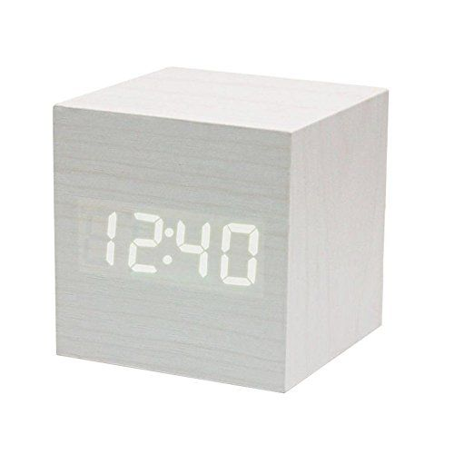 Powstro clock Modern Wooden Cube Design Digital LED Desk Alarm Clock Voice Control Thermometer Timer Calendar * Details can be found by clicking on the image. (This is an affiliate link and I receive a commission for the sales)
