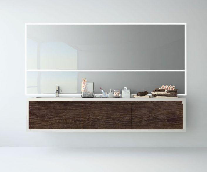 Muebles de baño a medida. Ejemplo de acabados en madera natural, laminados, lacas brillo o mate, etc.  unibaño-compactos-acabados-9