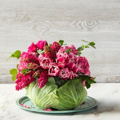 DIY Cabbage Centerpiece. Pretty for the table. #differentcenterpieces