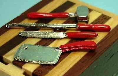 Dollhouse Miniature Kitchen Butcher Block Tools Set