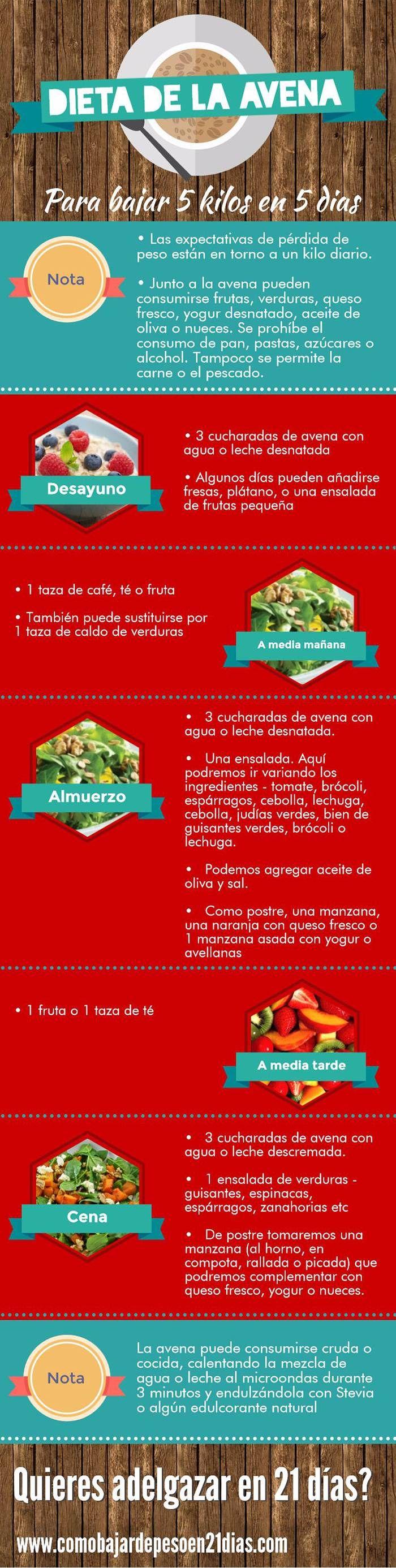 Adelgazar con avena, una dieta saludable si se combina correctamente con otros alimentos saludables y ejercicio. #dieta #avena #infografias
