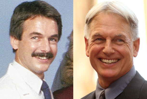 Mark Harmon as Dr. Bobby Caldwell on St. Elsewhere in 1983 and Mark Harmon in 2012