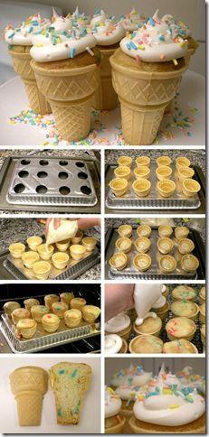 Cupcakes in een ijshoorntje