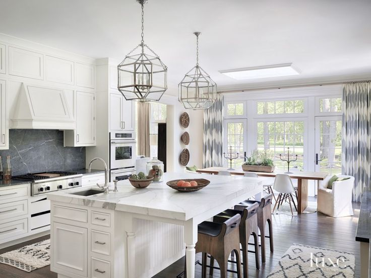 Best Contemporary White Kitchen With Gold Marble Island 400 x 300