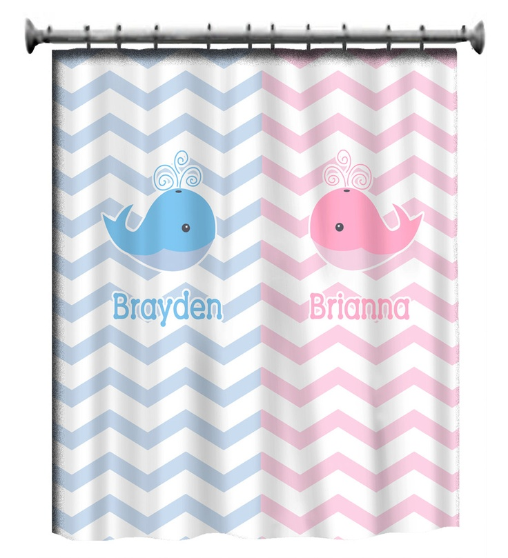 Personalized Shower Curtain  Chevron Pink And Blue Whale  Shared Curtain  Ooooh This Is So. New Bathroom IdeasBathroom ... Part 41