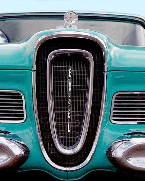A fine art photo of a vintage Edsel grille.