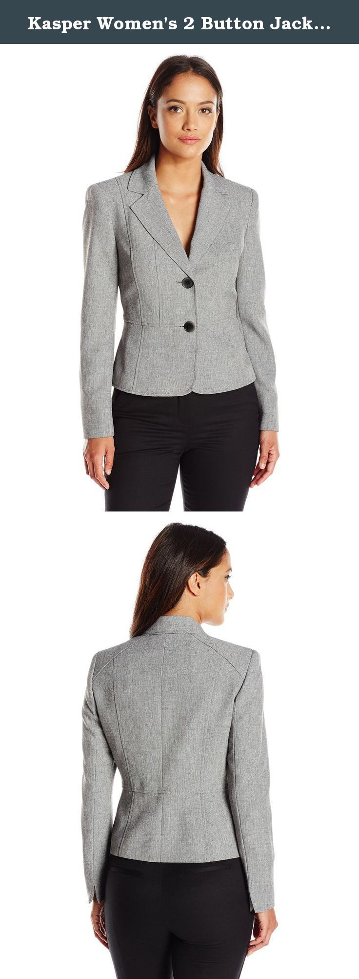 Kasper Women's 2 Button Jacket, Grey/Black, 16 Petite. You will be dressing for success in the two button, cross dyed jacket. This is the perfect jacket for any job interview or business meeting. Pair it with Kasper matching pant or dress for an overall career-ready look.
