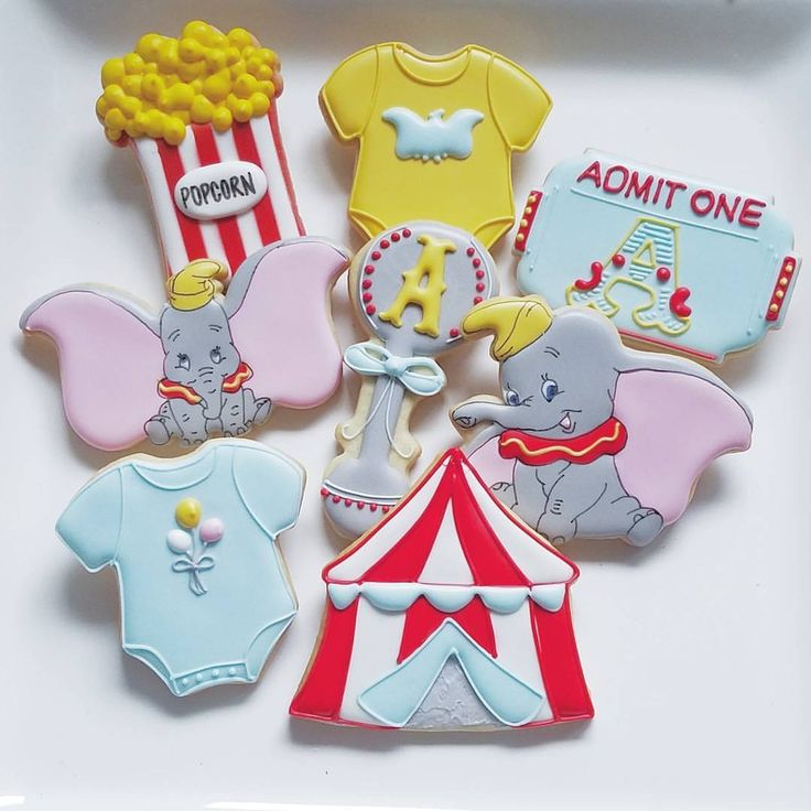 Dumbo Theme Baby Shower Cookies