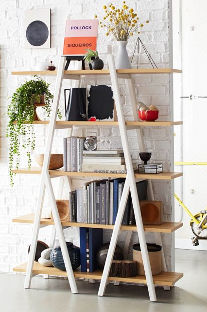 no-nails shelving is hot right now. style yours with books in the center and decorative bowls and vases on the edges.
